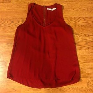 Vivid Red Sleeveless Blouse